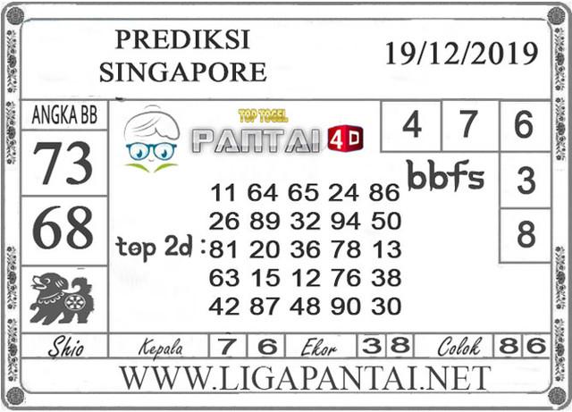 PREDIKSI TOGEL SINGAPORE PANTAI4D 19 DESEMBER 2019