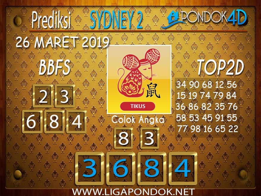 Prediksi Togel SYDNEY 2 PONDOK4D 26 MARET 2019