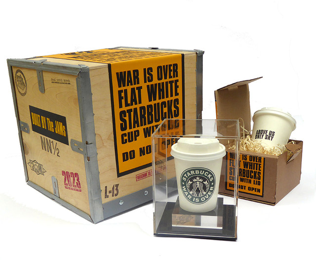 starbucks cup with plinth and box