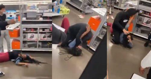კადრები რუსთავიდან, სადაც მაღაზიაში მამაკაცმა ქალს სცემა