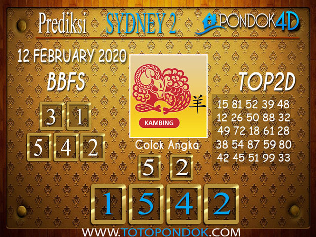 Prediksi Togel SYDNEY 2 PONDOK4D 12 FEBRUARY 2020