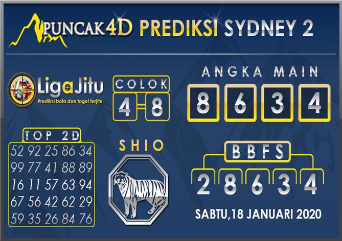 PREDIKSI TOGEL SYDNEY2 PUNCAK4D 18 JANUARI 2020
