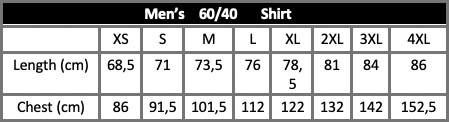 Men's 60/40 Shirt Size Guide