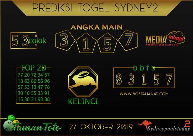 Prediksi Togel SYDNEY 2 TAMAN TOTO 27 OKTOBER 2019