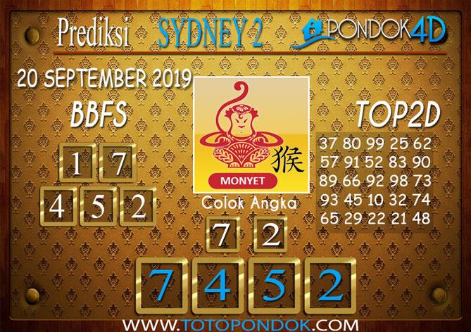 Prediksi Togel SYDNEY 2 PONDOK4D 20 SEPTEMBER 2019