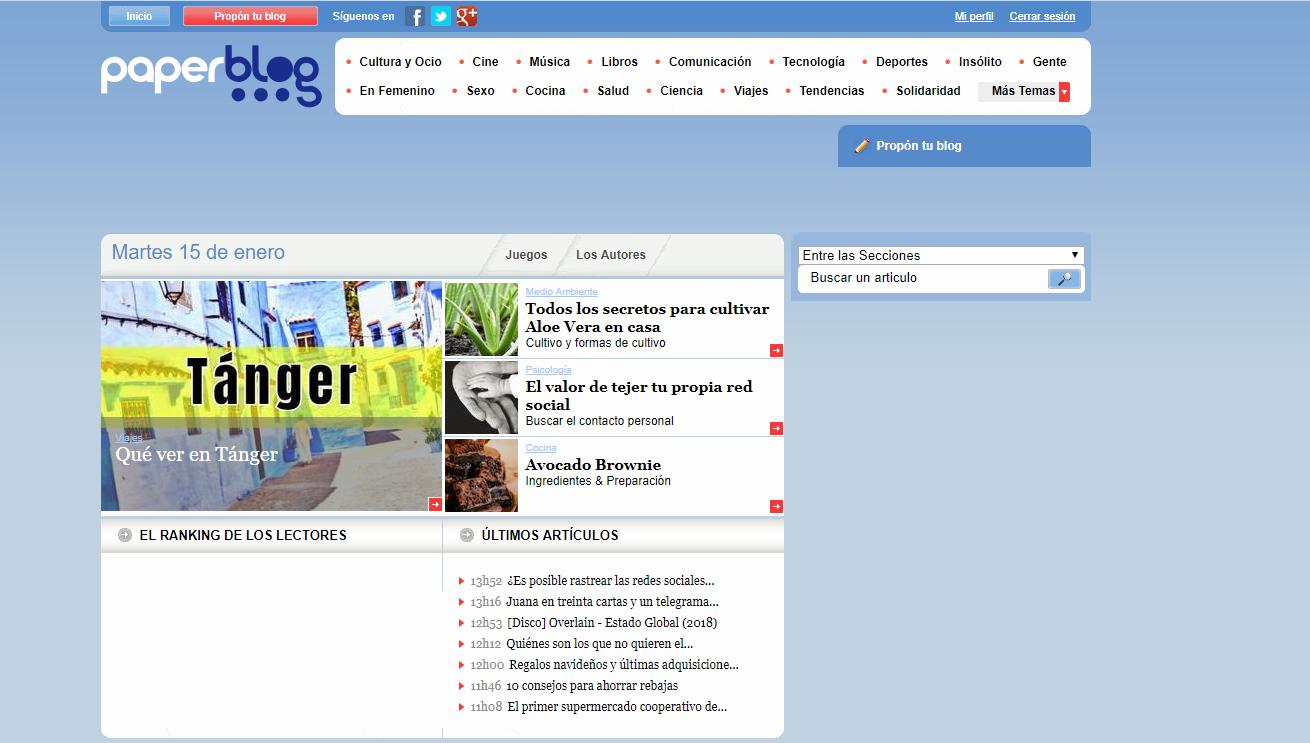 Paperblog captura de pantalla