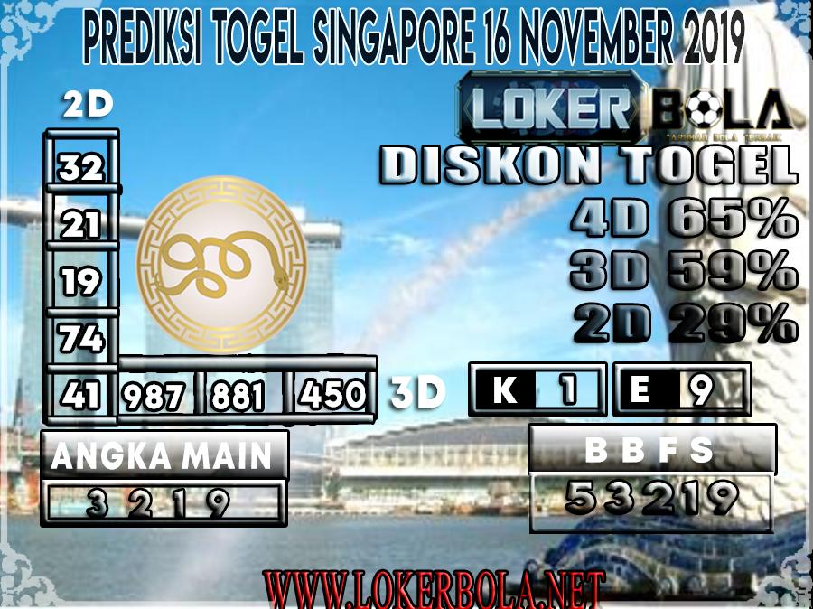 PREDIKSI TOGEL SINGAPORE LOKERBOLA 16 NOVEMBER 2019