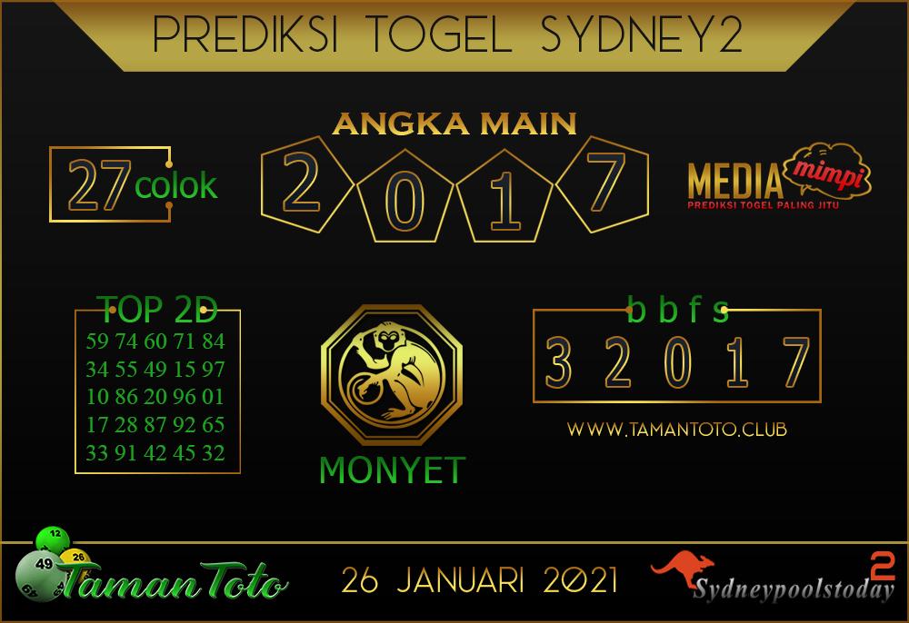Prediksi Togel SYDNEY 2 TAMAN TOTO 26 JANUARI 2021