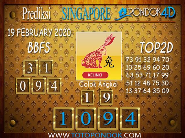 Prediksi Togel SINGAPORE PONDOK4D 19 FEBRUARY 2020