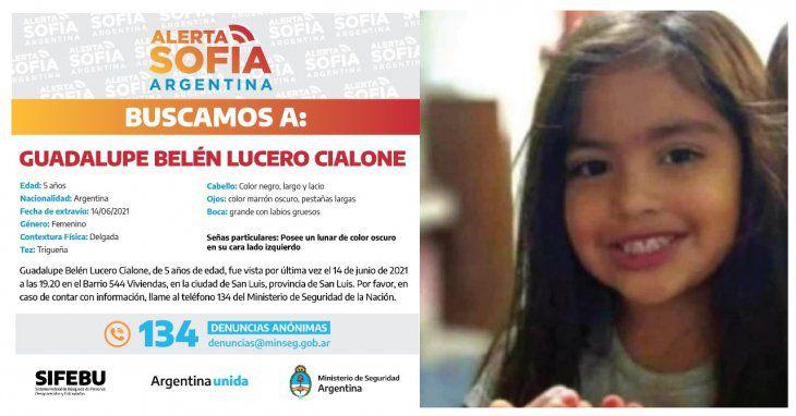 Se activo Alerta Sofìa por Guadalupe Lucero la nena de 5 años que sigue sin aparecer: la buscan casa por casa