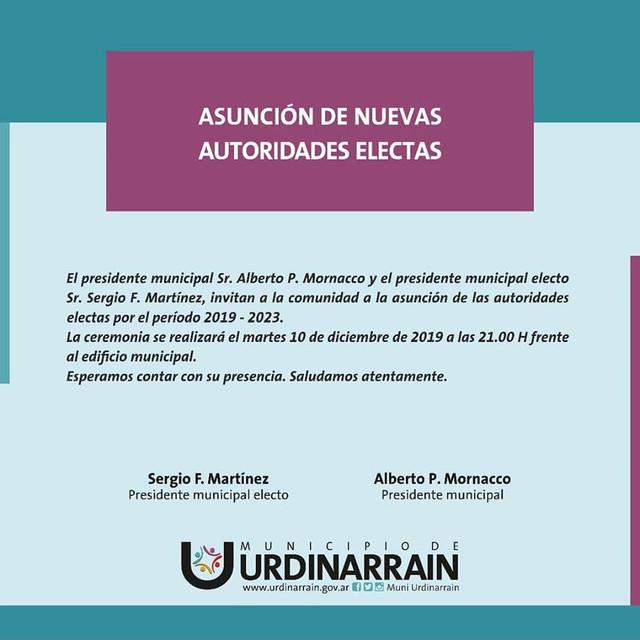 10 de diciembre: Acto de asunción de las nuevas  autoridades en Urdinarrain
