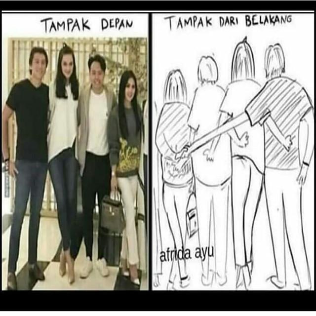 Foto kedekatan Luna Maya, Syahrini dan Reino Barack yang diparodikan oleh netizen.