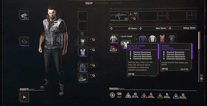 Cyberpunk 2077: Экипировка, обмундирование