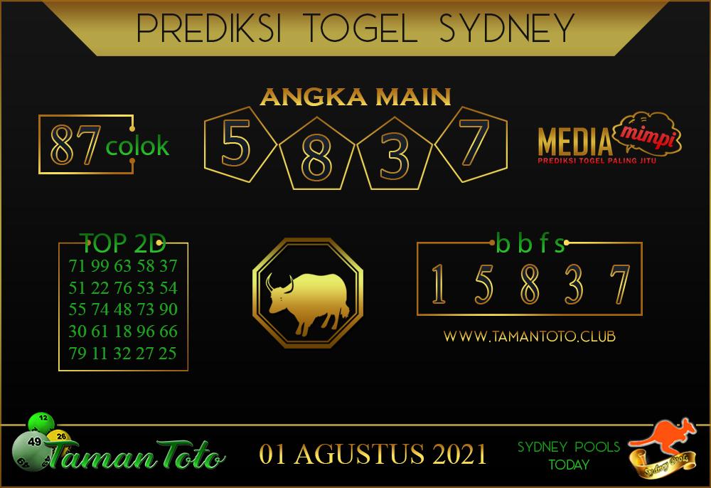 Prediksi Togel SYDNEY TAMAN TOTO 01 AGUSTUS 2021