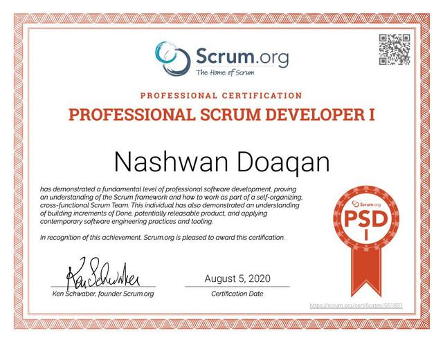 Nashwan Scrum PSD Certificate