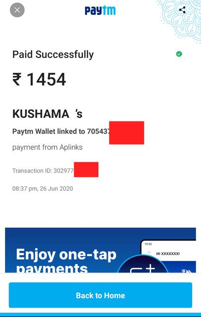 Aplinks.in Payment Proof