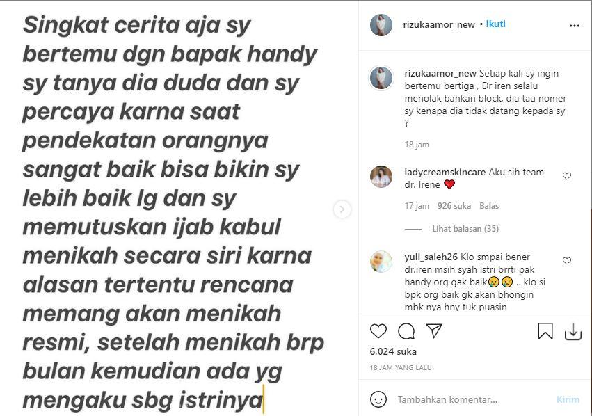 Klarifikasi Rizuka Amor soal tudingan rebut suami dokter Irene