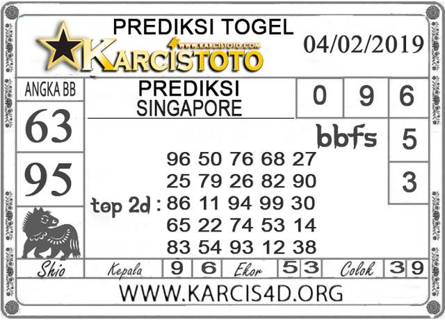 Prediksi Togel SINGAPORE KARCISTOTO 04 FEBRUARI 2019