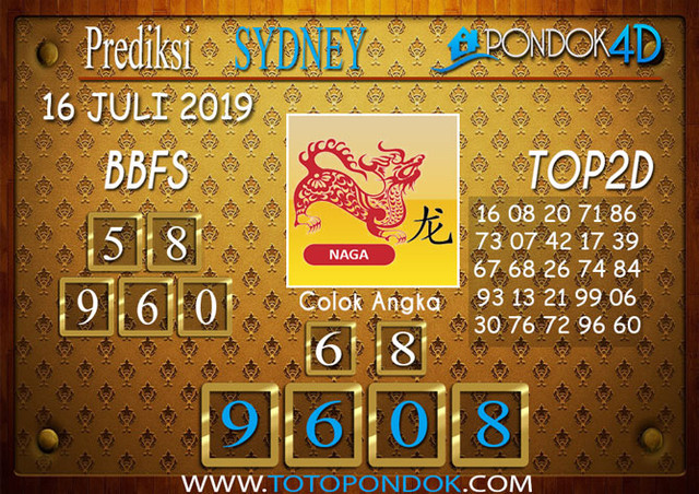 Prediksi Togel SYDNEY PONDOK4D 16 JULI 2019