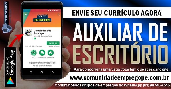 AUXILIAR DE ESCRITÓRIO COM SALÁRIO R$ 1045,00 PARA EMPRESA DO SEGMENTO HOSPITALAR