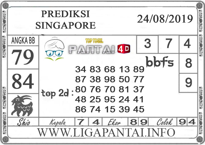 "PREDIKSI TOGEL ""SINGAPORE"" PANTAI4D 24 AGUSTUS 2019"