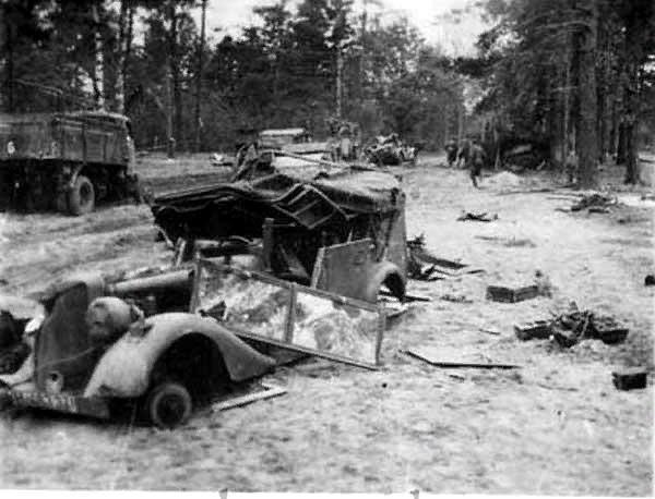 German convoy destroyed by Soviet tanks