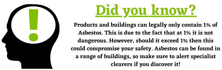 Legal amount of Asbestos