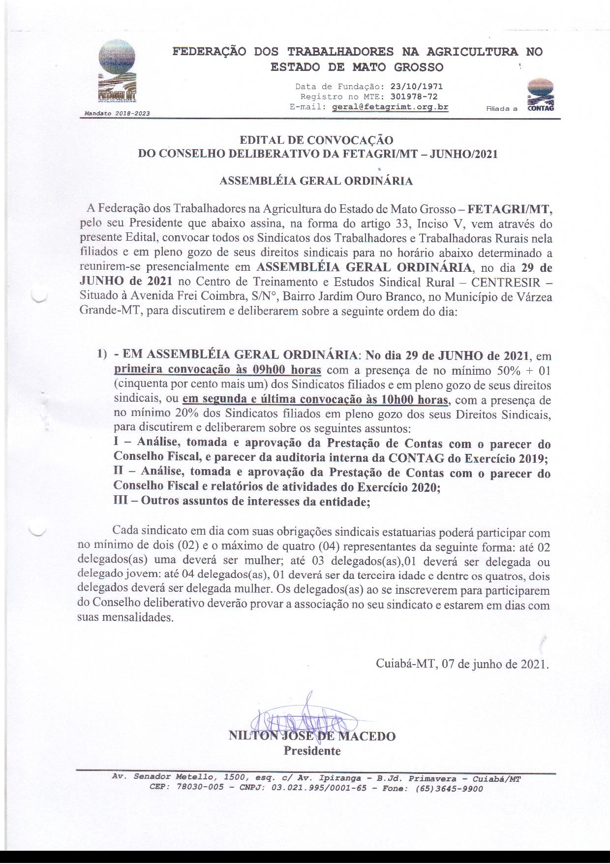 EDITAL DE CONVOCAÇÃO - ASSEMBLÉIA GERAL ORDINÁRIA FETAGRI-MT - JUNHO 2021