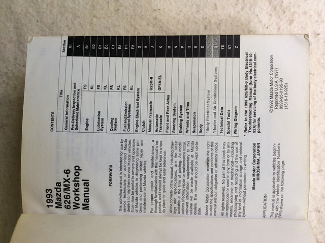 1993 Mazda 626 MX6 workshop service manual