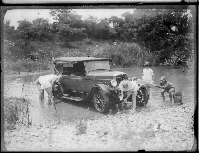 Car wash in river