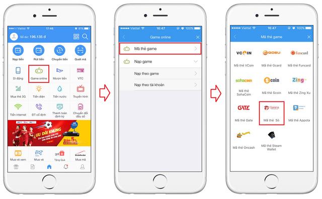 Nạp thẻ Free Fire Gareana bằng ứng dụng ví điện tử VTC Pay