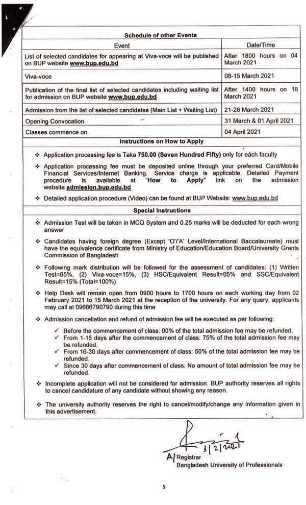 BUP Admission Result 2021- www.bup.edu.bd Result PDF 5