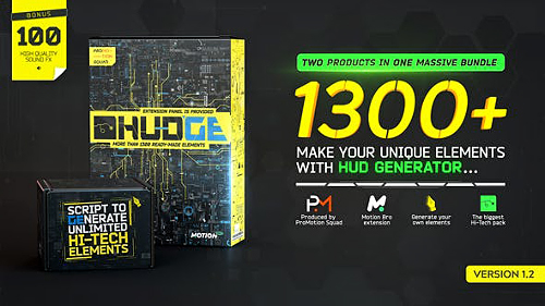 HUDGE | Generator of Hi-Tech Elements | 1300+ UI HUD v.1.2.0 26509230 - Project & Script for After Effects (Videohive)