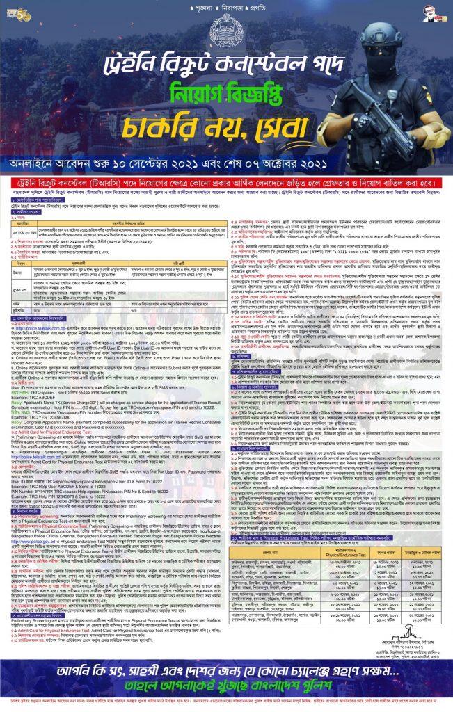 Bangladesh Police Job Circular 2021 for Trainee Recruit Constable