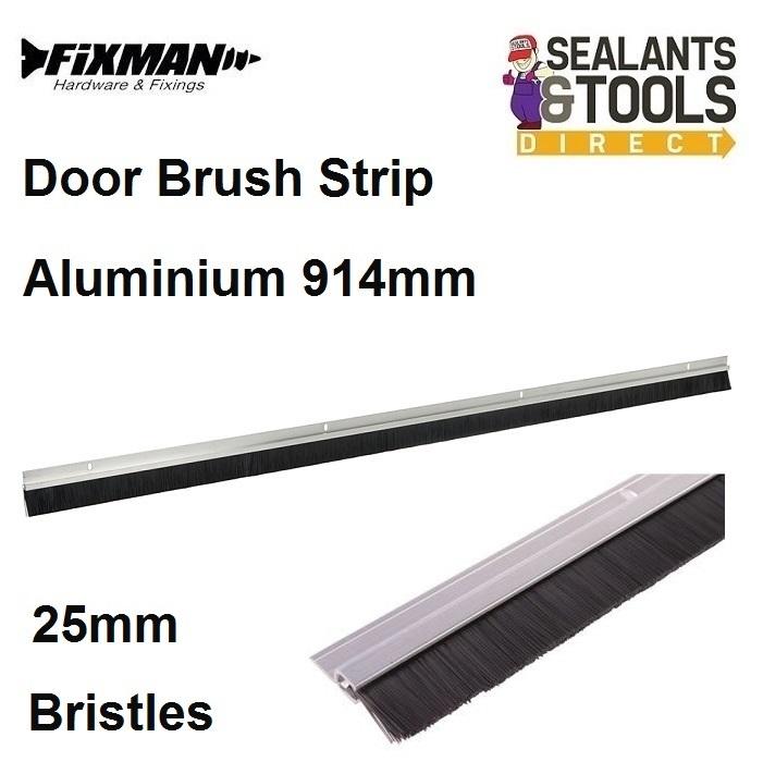 Fixman-Aluminium-Door-Brush-Strip-25mm-Bristles-968352