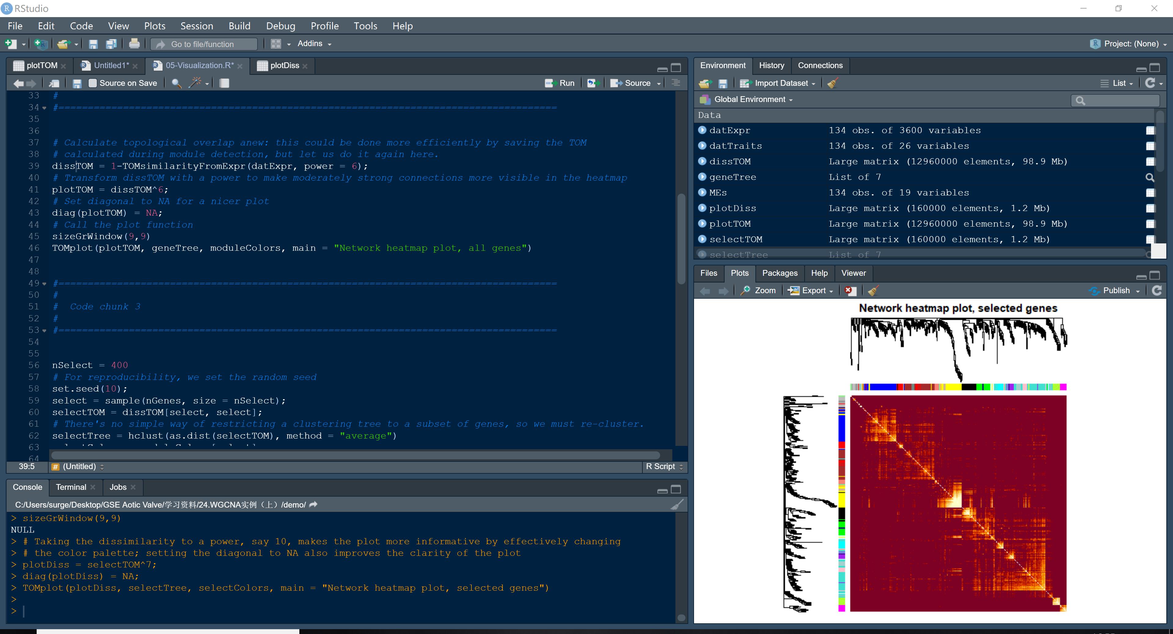code and plot