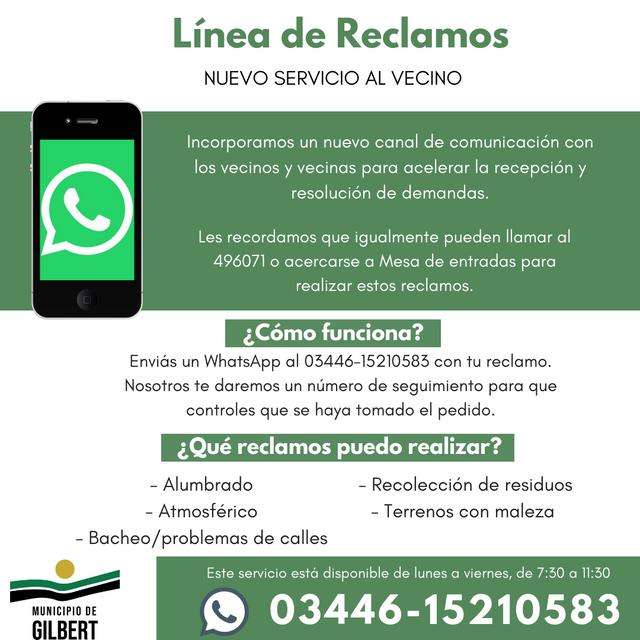 L�nea de reclamos por Whatsapp en Gilbert