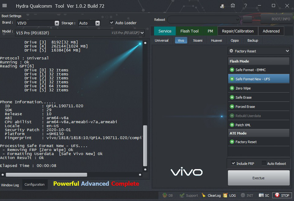 Vivo v15 Pro (PD1832F) Safe and Zero wipe FRP successfully done by Hydra Tool