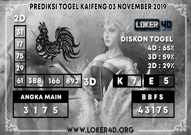 PREDIKSI TOGEL KAIFENG LOKER4D 03 NOVEMBER 2019