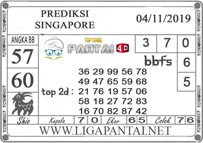 """PREDIKSI TOGEL """"SINGAPORE"""" PANTAI4D 04 NOVEMBER 2019"""