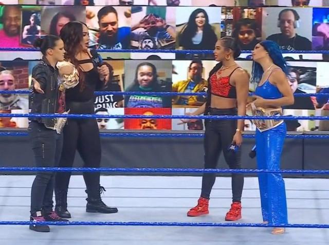 Bianca Belair y Sasha Banks y Nia Jax y Shayna Baszler SmackDown 12 Febrero
