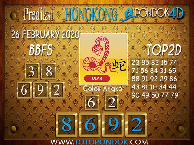 Prediksi Togel HONGKONG PONDOK4D 26 FEBRUARY 2020