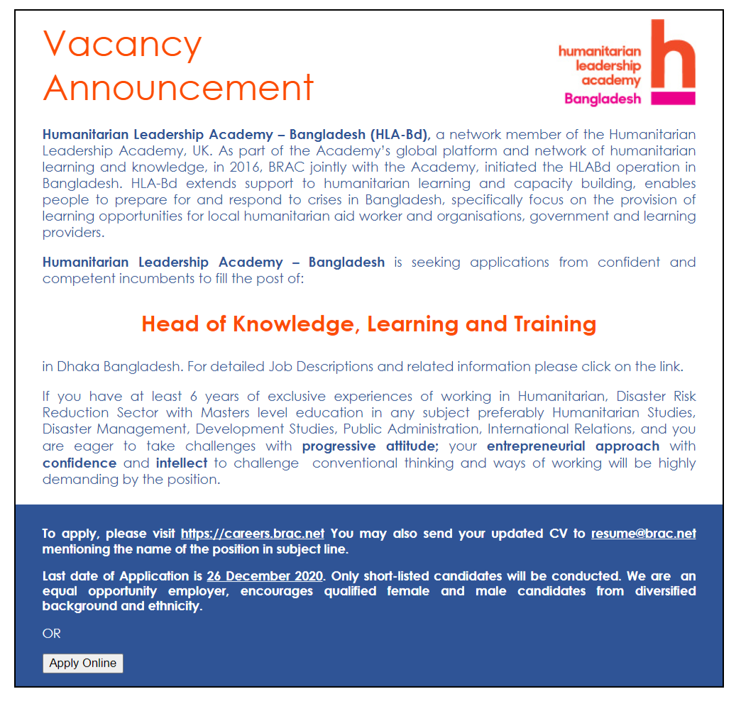 humanitarian-leadership-academy-job-circular-2020