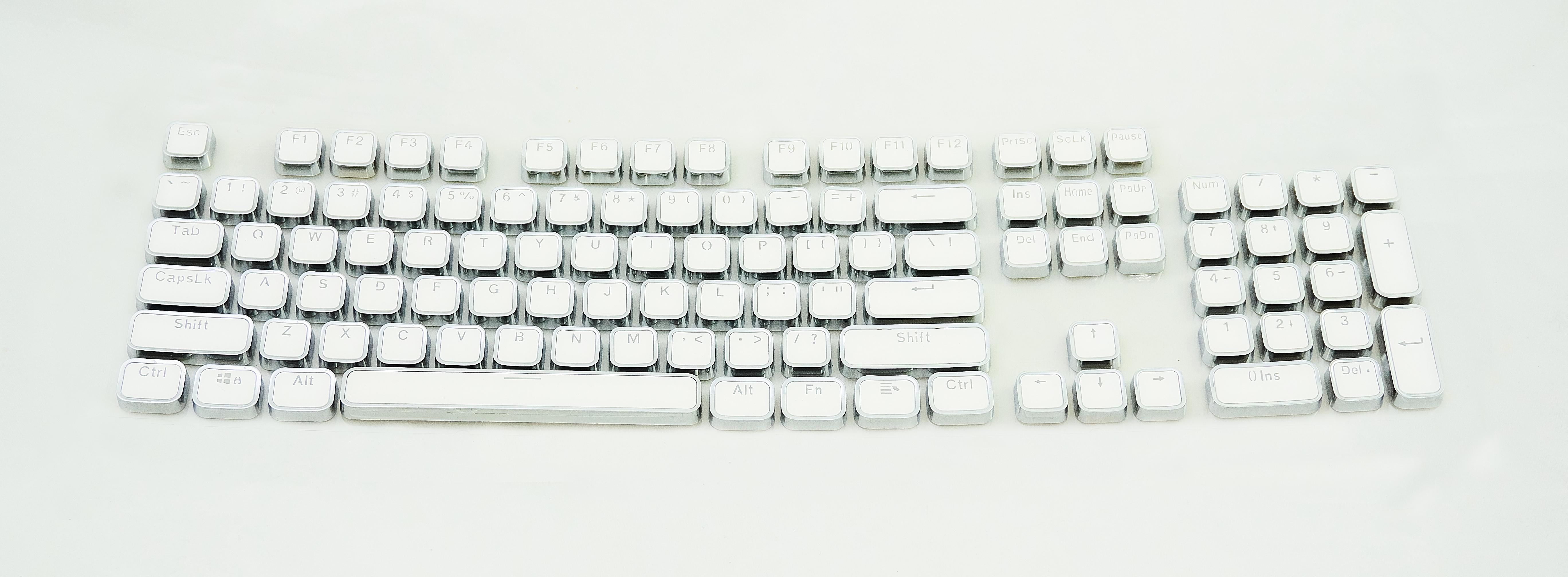 Keycap Branco Prateado Tecla para Teclado Mecânico