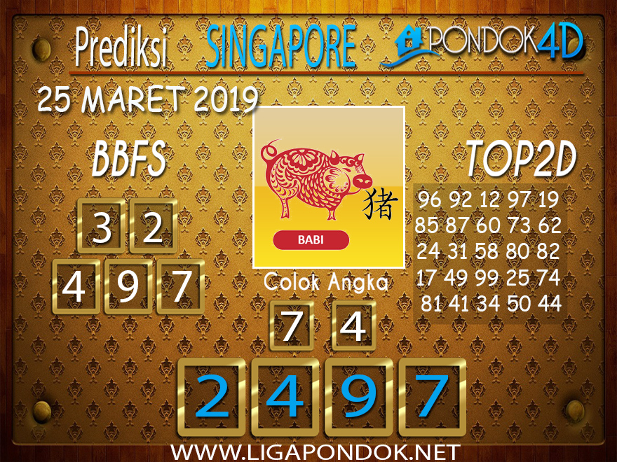 Prediksi Togel SINGAPORE  PONDOK4D 25 MARET 2019
