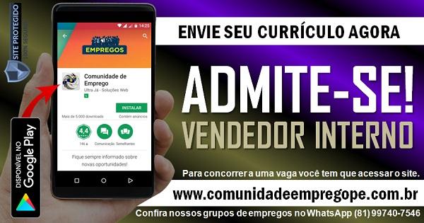 VENDEDOR INTERNO PARA REDE DE LOJAS EM SHOPPING NO RECIFE