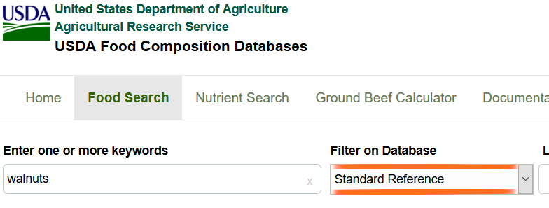 An example: USDA Food composition databases