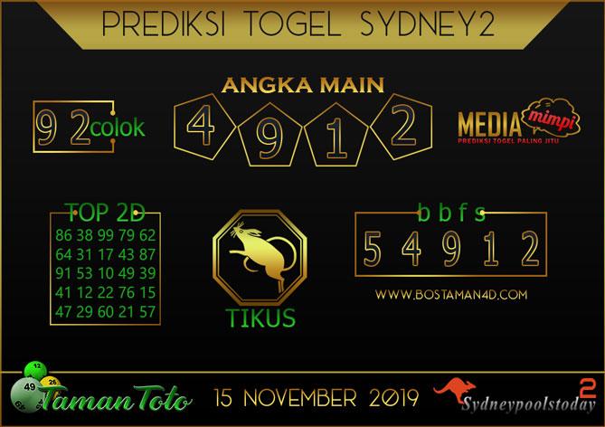 Prediksi Togel SYDNEY 2 TAMAN TOTO 15 NOVEMBER 2019