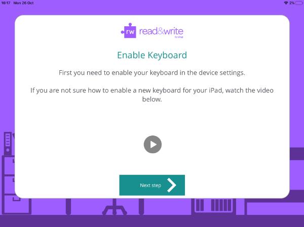 Read&Write iPad app enable keyboard set up wizard window