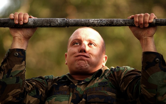 soldier doing pull-ups